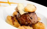 Raviolis frits à la fourme d'Ambert, filet de bœuf de Salers poêlé