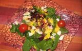 Salade de betterave crue aux jeunes pousses d'épinards