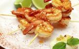 Brochettes de crevettes marinées aux épices