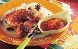 Cuisses de poulet à la tahitienne avec riz coco et chutney à la mangue