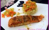 Pavé de saumon caramélisé et ses tagliatelles de courgette carotte