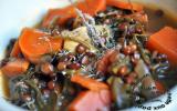 Soupe de lentilles, carottes et feuilles de navet, fenouil et céleri