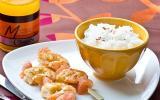 Brochettes de crevettes marinées et Pomelo