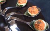 Cuillères apéritives concombre-poivron-parmesan