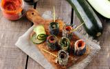 Makis de courgette et radis noir, olivade et délice de tomate séchée.