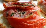Tartines chèvre pancetta tomate