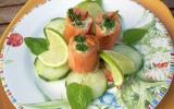 Assiette de saumon farci, truite et avocat maison