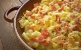 Gratin de pâtes aux lardons & à la mozzarella