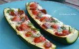 Courgettes gratinées au chorizo, tomate cerise et mozzarella