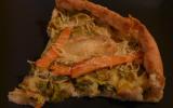 Tarte aux poireaux, saumon fumé et fromage de chèvre
