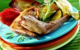 Lapin grillé au naturel et copeaux de légumes d'été