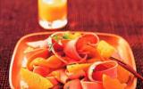 Tagliatelles de jambon cuit, mangue et orange
