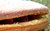 Gâteau au yaourt, lemon curd au basilic & framboises