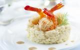 """Risotto acidulé, crevettes croustillantes et crème d""""étrilles"""