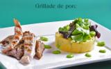 Grillades de porc marinées et polenta aux fèves