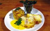 Lotte rôtie au poivre vert de penja