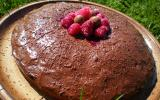Légèreté chocolatée aux framboises et pépites de chocolat