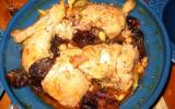 Tajine de poulet aux pruneaux sur courgettes & pois chiches