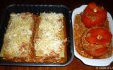 2 plats : presque la même recette : lasagnes et tomates farcies