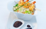 Ebly à la moutarde avec chou chinois et crevettes et gruyère AOC