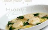 Soupe d'huitres et Saint-Jacques aux poireaux et gingembre