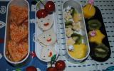 Poulet basquaise, salade de fruits et toast st morêt jambon