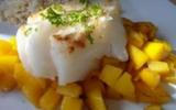 Dos de cabillaud à la mangue caramélisée
