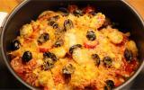 Tomate et fromage sur lit de chips tortillas