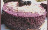 Mousseux parfait à la myrtille sur lit de biscuit roses de Reims
