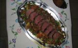 Rôti d'autruche au foie gras et aux girolles