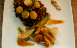 Salade de lentillons de champagne coquilles saint jacques nippones