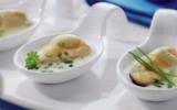 Bouchées de moules, sauce ciboulette