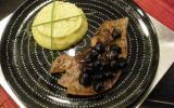 Foie de veau aux olives et sa purée de topinambours