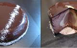 Entremets mousse chocolat noir / crémeux chocolat blanc / crémeux chocolat au lait
