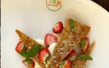 Mille-feuilles, fraises, crème diplomate et basilic
