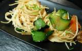 Spaghettis aux tagliatelles de légumes épicés