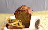 Cake aux pistaches, caramel et orangettes