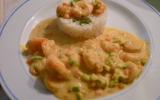 Gambas au curry et lait de coco