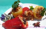 Poivrons et pommes de terre, farcis à la viande et fruits secs