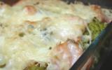 Gratin de romanesco au saumon, mozzarella et pistou