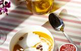 Crème de potiron, écume de lard et œufs pochés