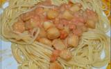 Spaghettis sauce crevettes, saint-jacques et citron