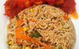Riz cantonnais et crevettes en sauce