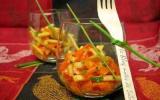 Verrine carottes-pommes, vinaigrette au miel et au curry