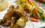 Cuisse de poulet du Périgord caramélisée aux pommes du Limousin