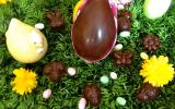 Chocolats noirs fourrés aux pistaches, ganache et coulis de framboise