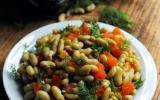 Salade de flageolets au saumon frais et fumé et à l'aneth