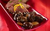 Magret de canard au miel et pruneaux aux amandes