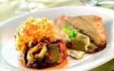Petit carrelet, Gaufre de pomme de terre et Courgette à la provençale