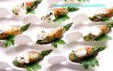 Asperges vertes au Roquefort Papillon, façon tapas